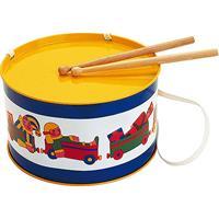 BOLZ Blechtrommel Spielkiste, Durchmesser: 20 cm, Blechspielzeug, Farbe: gelb und blau