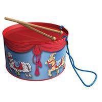 BOLZ Blechtrommel Karussell, Durchmesser: 20 cm, Blechspielzeug, Farbe: rot und blau