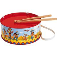 BOLZ Blechtrommel Indianer, Durchmesser: 20 cm, Blechspielzeug, Farbe: rot