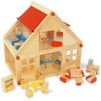 Legler Holz-Wohnhaus Puppenhaus Puppenstube 2 Etagen mit Möbeln