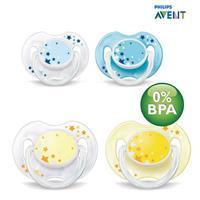 Philips Avent SCF176/18 - 2 Stück Beruhigungssauger Schnuller für die Nacht 0-6 Monate, BPA-frei