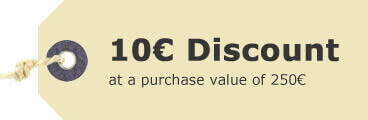 10 EUR discount at purchase value of 250 EUR