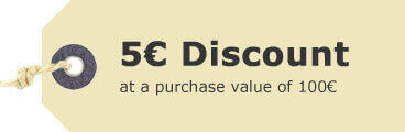 5 EUR discount at purchase value of 100 EUR