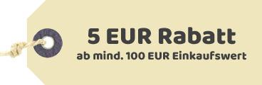 5€ Rabatt ab einem Einkaufswert von 100€