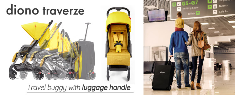 Traverze travel buggy with telescopic handle, as your luggage - with the Diono buggy Traverze you glide through the world